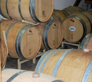 Sharp Rock wine aging in barrels.